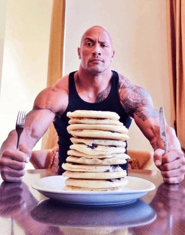 Dwayne Johnson with pancake stack
